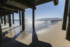 Santa Monica Beach California with Motion Blur Water Royalty Free Stock Images