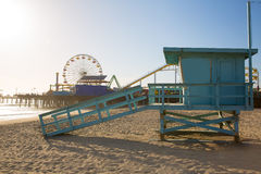 Santa Monica beach lifeguard tower in California royalty free stock photo