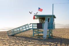 Santa Monica beach lifeguard tower in California stock photo