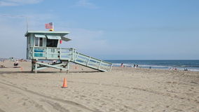Santa Monica beach lifeguard tower. View of the Santa Monica beach in a summer day Los Angeles California stock video