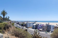Santa Monica Beach and Pacific Coast Highway Royalty Free Stock Photo