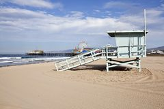 Santa Monica Beach and Pier Royalty Free Stock Photos
