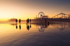 Santa Monica beach. And pier in California USA at sunset Stock Image