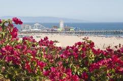 Santa Monica Beach. And Pier on a hot summer day Royalty Free Stock Photos