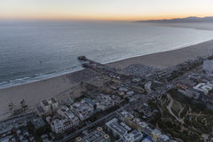 Santa Monica Beach and Pier Summer Night Aerial Royalty Free Stock Image