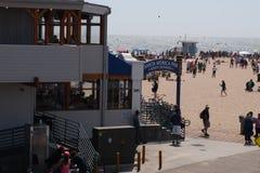 Santa Monica beach and pier. View of Santa Monica beach from the Santa Monica pier Royalty Free Stock Photography