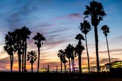 Santa Monica. Beach and pierat sunset, Los Angeles Royalty Free Stock Photos