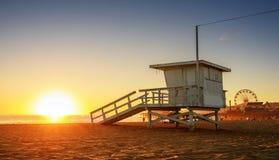 Santa Monica beach. Lifeguard tower in California USA at sunset stock photo