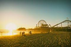 Santa Monica beach. Pier in California USA at sunset. Retro colors Royalty Free Stock Photos