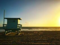 Santa Monica Beach. Sunset at Santa Monica Beach Stock Photo
