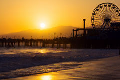 Santa Monica Beach at sunset Stock Images