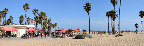 Santa Monica. Bike path and cafe between Santa Monica and Venice Beach California Royalty Free Stock Photography