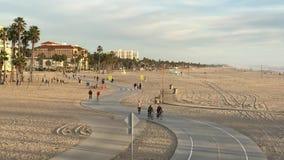 Santa Monica, CA USA - February 2017 Cruising Down Beach Sidewalk in Santa Monica stock video footage