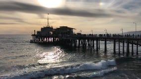 Santa Monica, CA USA - February 2017 Santa Monica pier, clouds stock video
