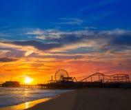 Santa Monica California sunset on Pier Ferrys wheel royalty free stock photo