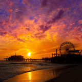 Santa Monica California sunset on Pier Ferrys wheel Stock Photos