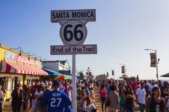Santa Monica end of famous Route 66 Stock Photos