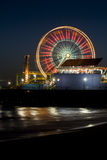Santa Monica Ferris Wheel 1. Vertical image of the famous Pacific Wheel at Santa Monica Pier in Southern California Royalty Free Stock Photography