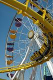 Santa Monica Ferris Wheel and Coaster Royalty Free Stock Photo
