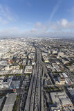 Santa Monica 10 Freeway Aerial Los Angeles California. Los Angeles, California, USA - April 12, 2017:  Aerial view of afternoon traffic on the Santa Monica 10 Royalty Free Stock Photography