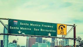 Santa Monica freeway sign in Los Angeles Royalty Free Stock Photo