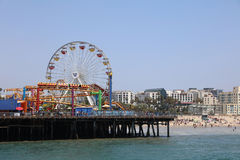 Santa Monica Pier. The Santa Monica Pier – the End of Route 66  - a 100 year old landmark with shops, restaurants and an amusement park called Pacific Park. It Royalty Free Stock Photo
