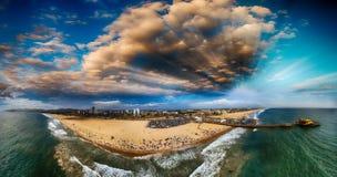 Santa Monica Pier and Beach, CA. Sunset panoramic aerial view.  Stock Photography