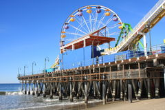 Santa Monica Pier and Beach in Southern California Royalty Free Stock Images