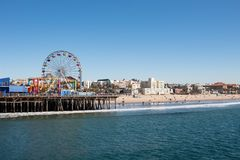 Santa Monica Pier and beach royalty free stock image