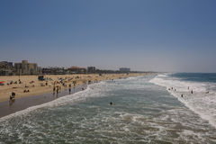 Santa Monica Pier. Santa Monica beach view from pier in California USA Royalty Free Stock Image