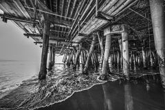 Santa Monica pier in black and white. Los Angeles, California Royalty Free Stock Image