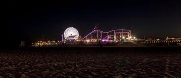 Santa Monica Pier boardwalk lit up at night Royalty Free Stock Photo