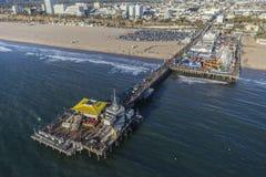Santa Monica Pier Cityscape Aerial Fotografía de archivo