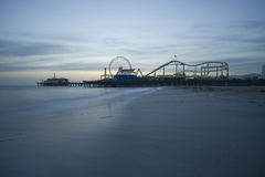 Santa Monica Pier Dusk  Royalty Free Stock Photo