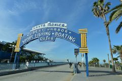 Santa Monica, California, USA, April 16, 2017: Entrance to end of the trail as it can be seen on Santa Monica pier. Santa Monica Pier at the end of Route 66 Stock Photos