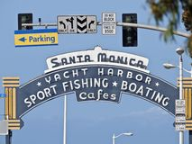 Santa Monica Pier Entrance Sign Royalty Free Stock Image