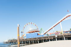 Santa Monica Pier-Fahrten und -anziehungskräfte Lizenzfreies Stockfoto