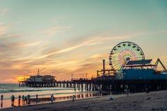 Santa Monica pier, LA. Santa Monica pier at sunset, Los Angeles Stock Images