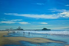 Santa Monica Pier Landscape. Coastline landscape winter in  Santa Monica California Stock Images