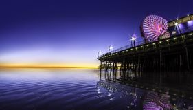 Santa Monica Pier in Los Angeles California. Panorama of Santa Monica Pier alonf the Pacific Ocean in Los Angeles California with blue sky for text space or Stock Photography