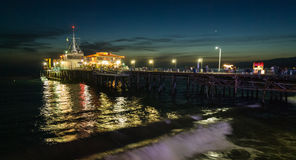 Santa Monica Pier by Night Royalty Free Stock Photography