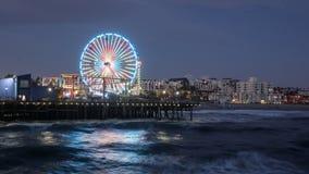 Santa Monica Pier at Night Stock Photos