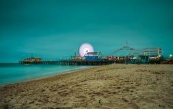 Santa Monica Pier at night,  Los Angeles, California. Long exposure Royalty Free Stock Photography