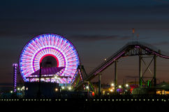 Santa Monica Pier at Night Stock Photos