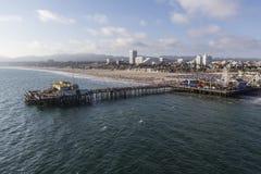Santa Monica Pier Pacific Ocean Aerial Royalty Free Stock Image