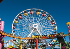 Santa Monica Pier Pacific Park Amusement Rides Images stock