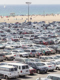 Santa Monica Pier parking filled with cars. Royalty Free Stock Images