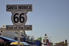 Santa Monica Pier End of Route 66 Royalty Free Stock Photo