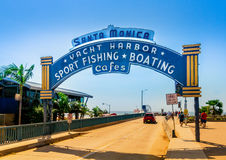 Santa Monica Pier, Picture of the entrance with the famous arch sign Royalty Free Stock Photo