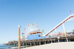 Santa Monica Pier ritter och dragningar Royaltyfri Foto